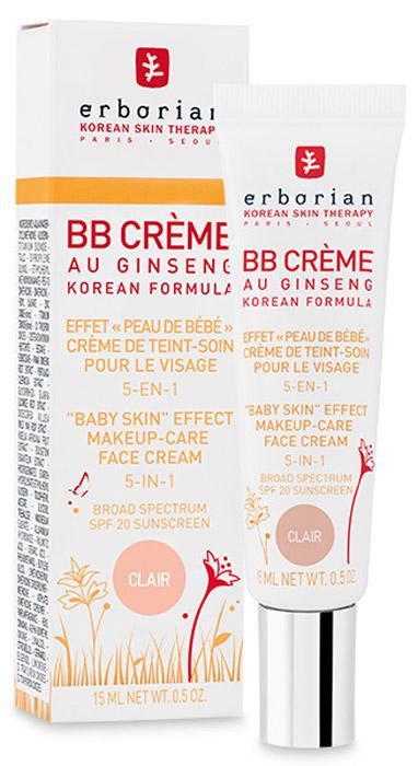 Erborian Крем для лица BB Creme, 5-в-1, SPF 20, тон: светлый, 15 мл bb крем erborian вв крем с женьшенем золотистый объем 15 мл