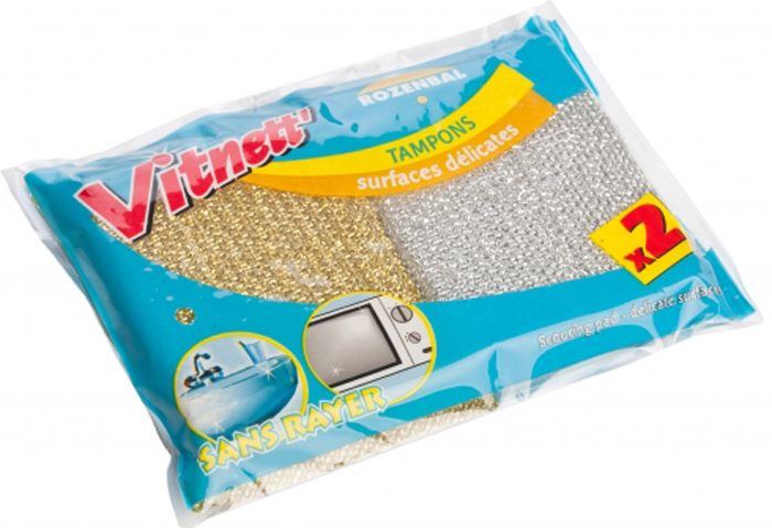 Губка для посуды Rozenbal, для мягкой чистки, цвет: серебристый, золотистый, 2 шт. R106003R106003Губки Rozenbal предназначены для интенсивной чистки и удаления сильных загрязнений с посуды (противни, решетки-гриль, кастрюли, сковороды), также подходят для чистки раковин. Могут использоваться для деликатных поверхностей. Губки сохраняют чистоту и свежесть даже после многократного применения, а их эргономичная форма удобна для руки. Размер: 2,5 х 6,5 х 11 см.