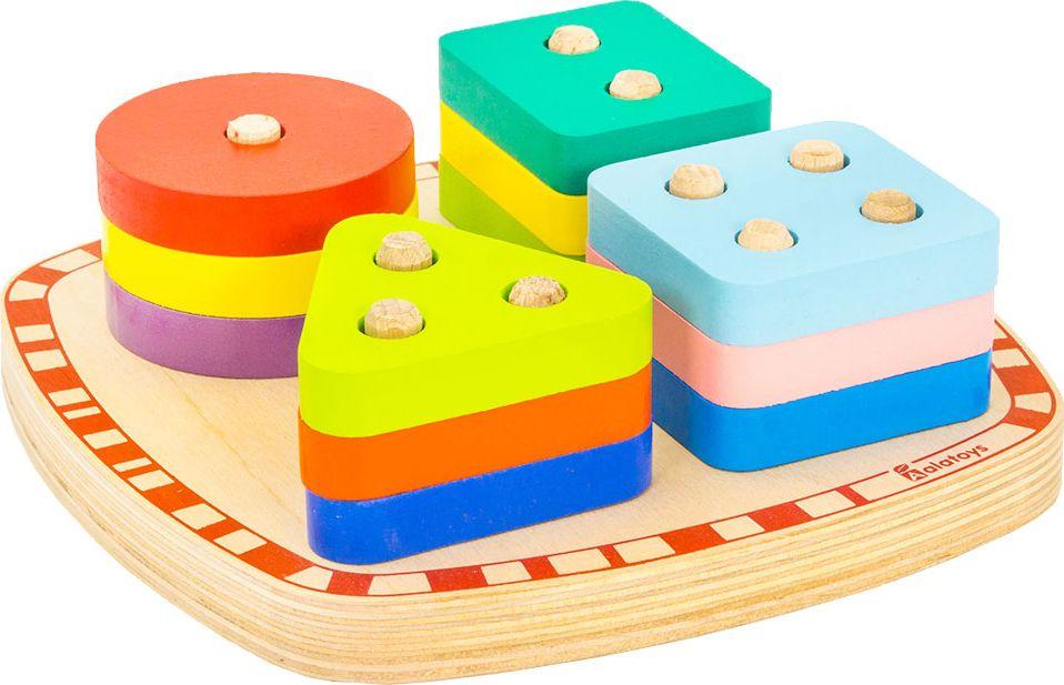 Обучающая играСОР25СОР25Деревянная конструкция представляет собой привлекающий детское внимание яркий сортер, включающий с 12 разноцветными вкладышами четырех геометрических форм и специальную доску. В каждом вкладыше имеются отверстия, а на основе по группам установлены оси. Ребенок научиться считать и сопоставлять формы, собирая сортер. Это прекрасный способ развиваться и отлично проводить время.
