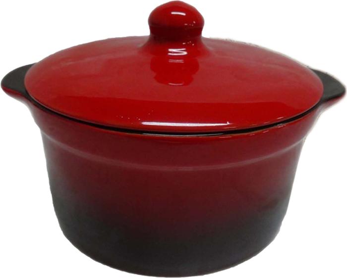 Кастрюля для запекания Борисовская керамика Красный с крышкой, 1 л кастрюля для запекания bayerhoff с крышкой в плетеной корзине керамическая 0 9 л bh 161