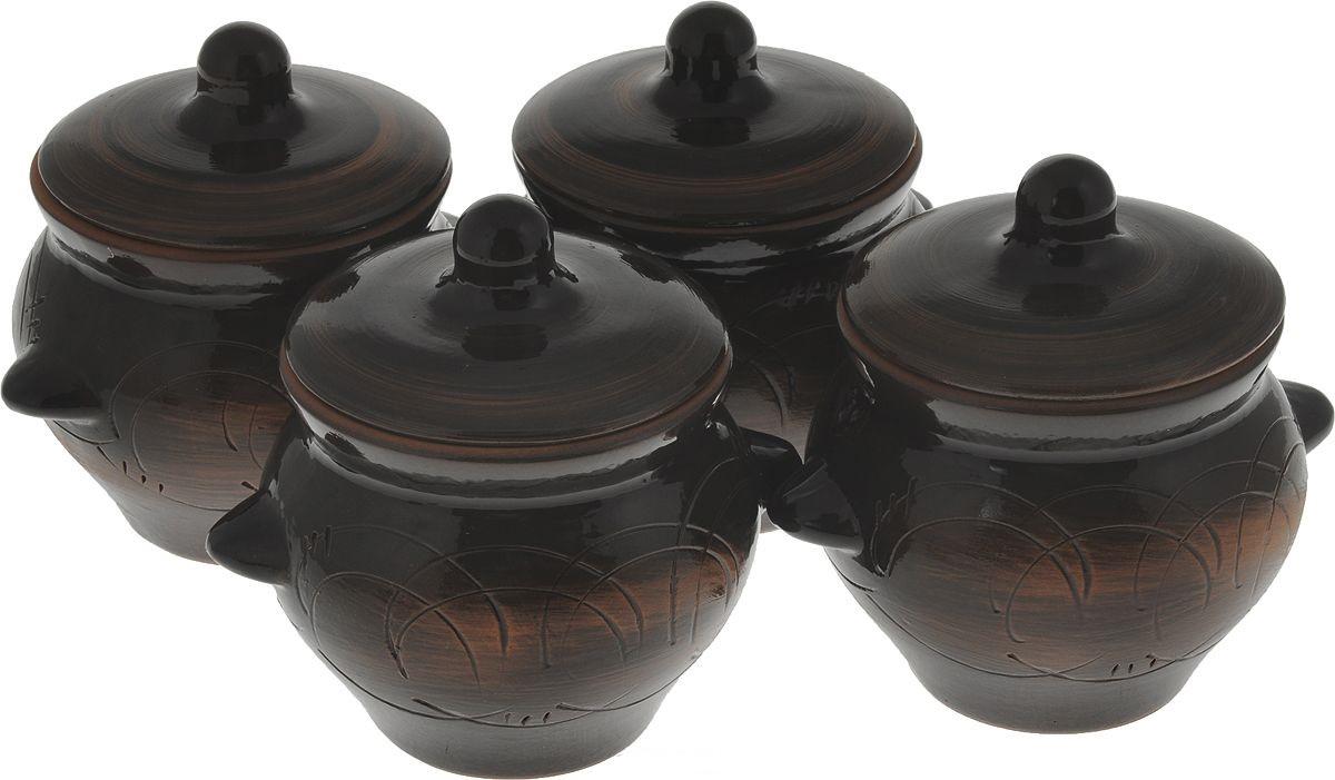 Набор горшочков для запекания Борисовская керамика Лакомка, 500 мл, 4 шт. СТР00000963 набор горшочков для запекания борисовская керамика новарусса 4 шт