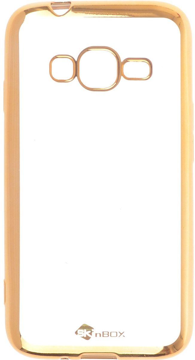 Skinbox 4People Silicone Chrome Border чехол-накладка для Samsung Galaxy J1 mini Prime J106, Gold аксессуар чехол накладка для samsung galaxy j106 j1 mini prime skinbox slim silicone 4people transparent t s sgj106 006