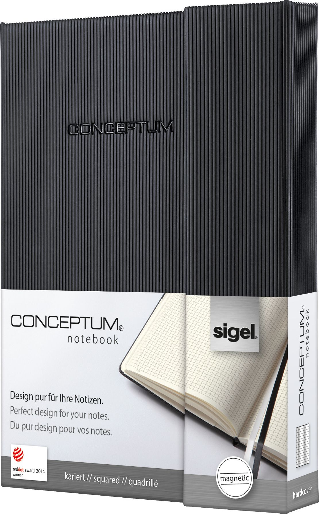 Sigel Блокнот Conceptum Hardcover 97 листов в клетку формат A6 цвет черный (магнитная застежка)