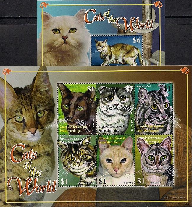 Кошки мира, Гренада. Лист + блок цена в Москве и Питере