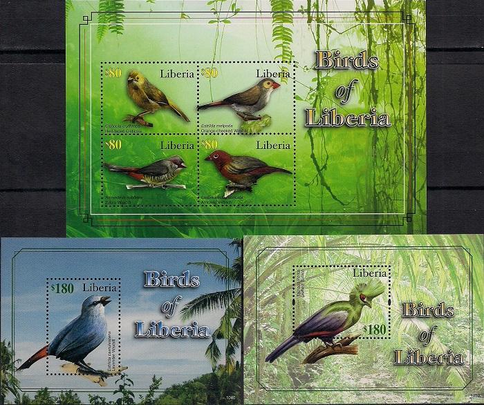 Птицы Либерии, Либерия. Малый лист + 2 блока цена в Москве и Питере
