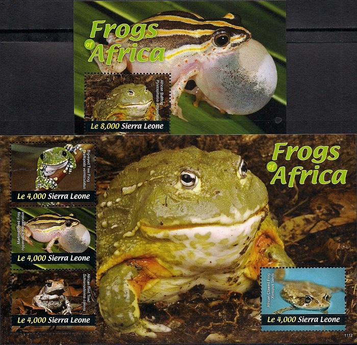 Лягушки Африки, Сьерра - Леоне. Лист + блок