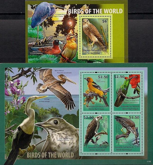 Птицы мира № 3, Гренада. Лист + блок цена
