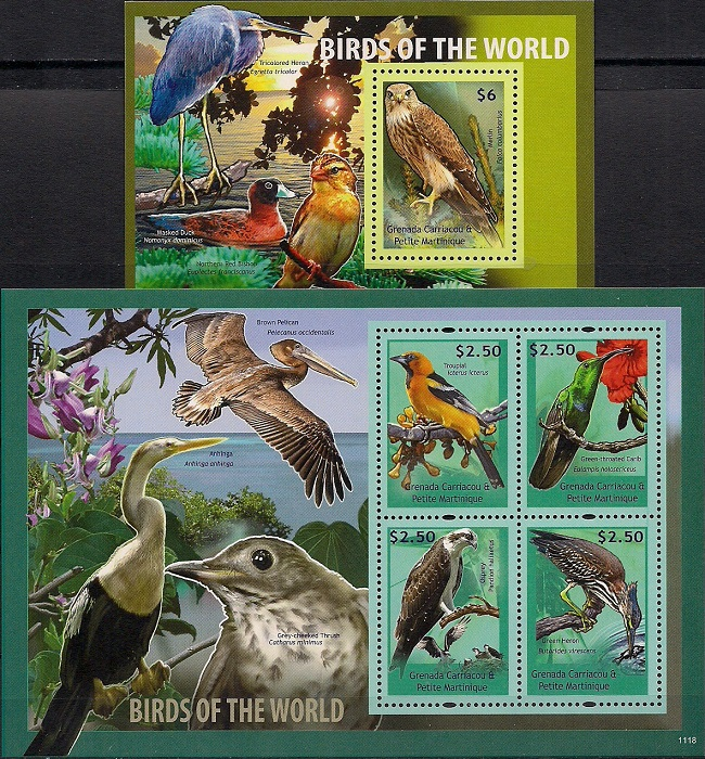 Птицы мира, Гренада. Лист + блок цена