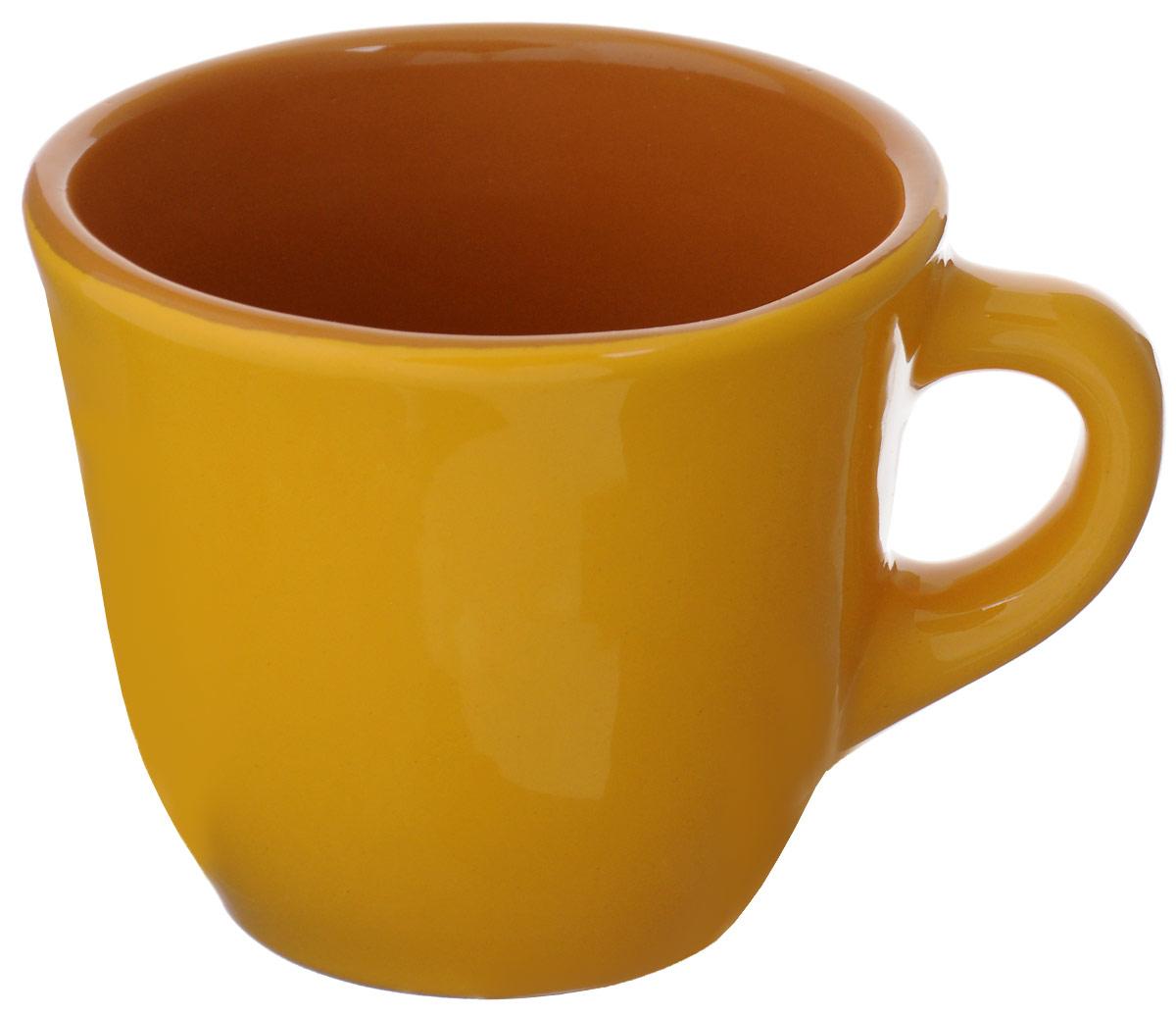 Чашка чайная Борисовская керамика Радуга, цвет: желтый, 300 мл чашка чайная борисовская керамика пион цвет оранжевый 300 мл