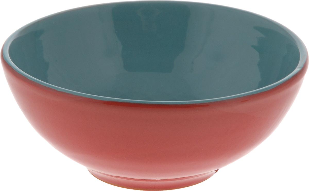 Салатник Борисовская керамика Удачный, цвет: красный, бирюзовый, 450 мл салатник борисовская керамика удачный цвет салатовый коричневый 450 мл