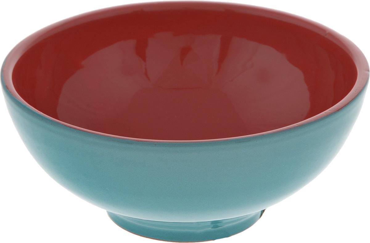 Салатник Борисовская керамика Удачный, цвет: бирюзовый, красный, 450 мл салатник борисовская керамика удачный цвет салатовый коричневый 450 мл