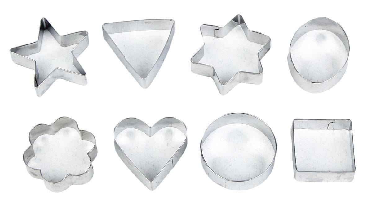 Набор форм для вырезания печенья Доляна Круг, овал, звезда, квадрат, сердце, 8 шт набор формочек для выпечки сердце 2 шт 631190