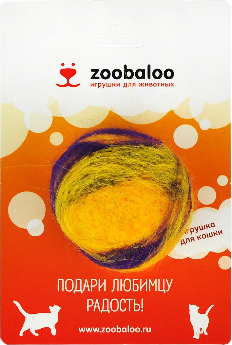 Игрушка для животных Zoobaloo Шерстяной мяч Фьюжн, цвет: желтый, фиолетовый. 364 авторская игрушка котямба ручная работа ku15