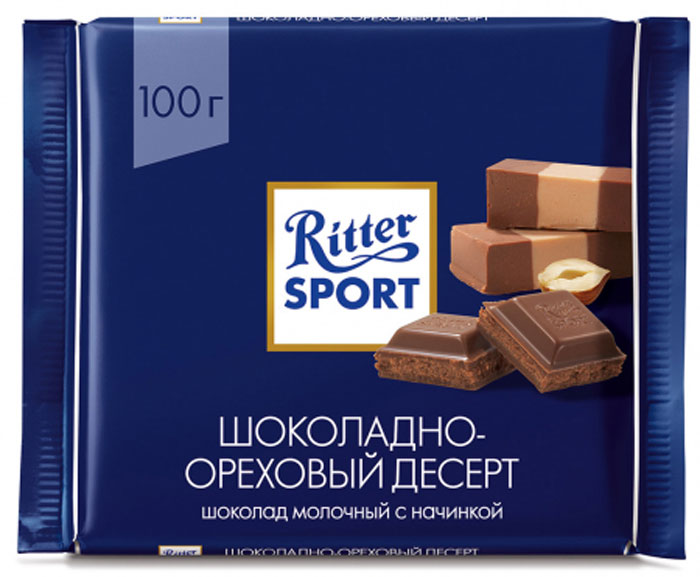 Ritter Sport Пралине Шоколад молочный с пралиновой начинкой, 100 г шоколад молочный ritter sport ром орех изюм 100 г