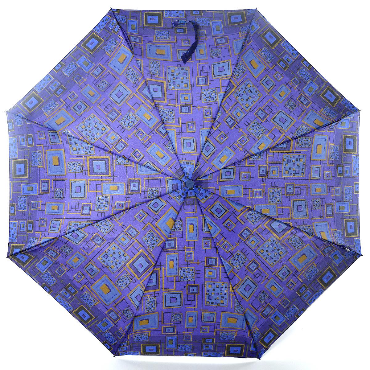 Зонт женский Airton, механика, 3 сложения, цвет: синий, фиолетовый. 3515-082 зонт airton 3515 женский механический