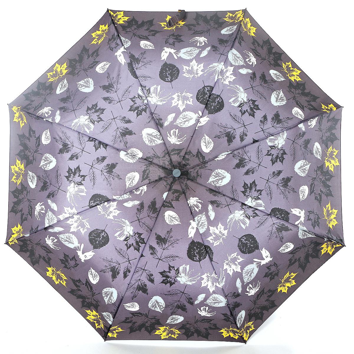 Зонт женский Airton, механика, 3 сложения, цвет: серый, желтый, белый. 3515-096 зонт airton 3515 женский механический