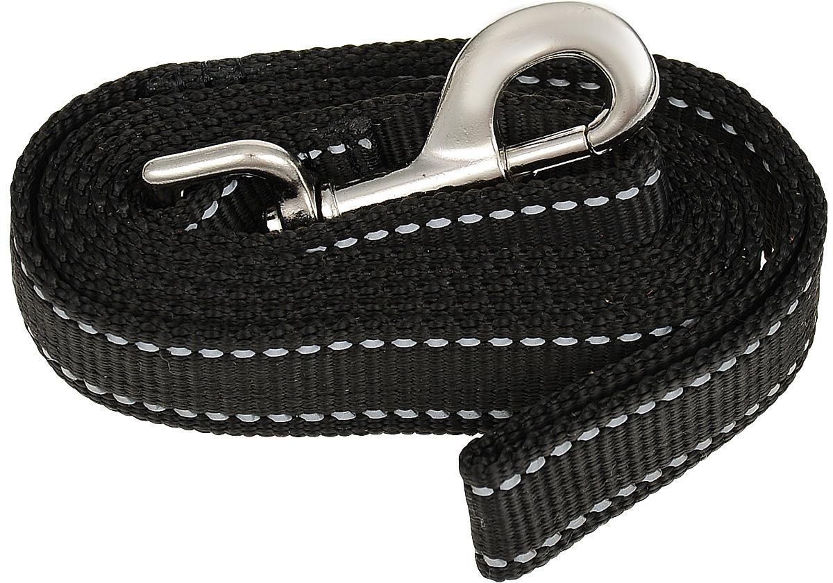 Поводок капроновый для собак Аркон, цвет: черный, ширина 2,5 см, длина 1,5 м поводок капроновый для собак аркон цвет розовый ширина 2 см длина 5 м