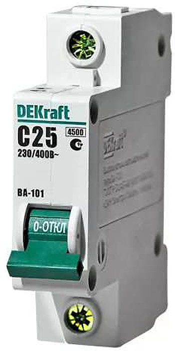 Автоматический выключатель DeKraft ВА-101, 1П C 25А 4.5кА автоматический выключатель dekraft ва 103 1п 6а c 6ка 12054dek