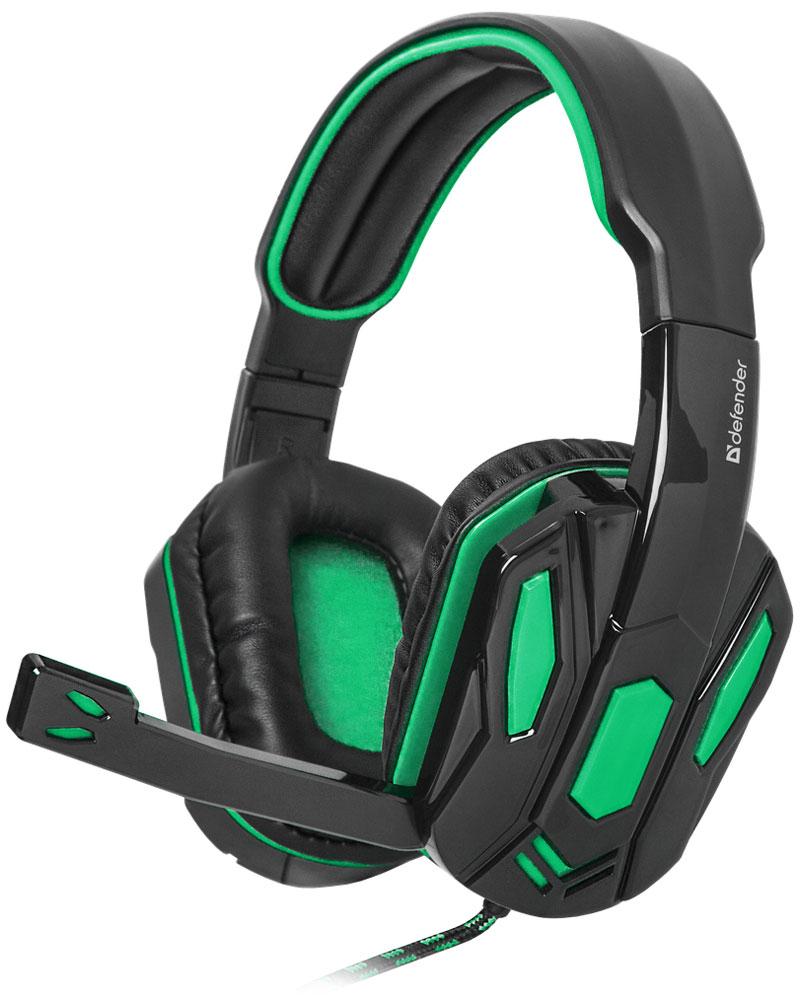 лучшая цена Defender Warhead G-275, Black Green игровая гарнитура