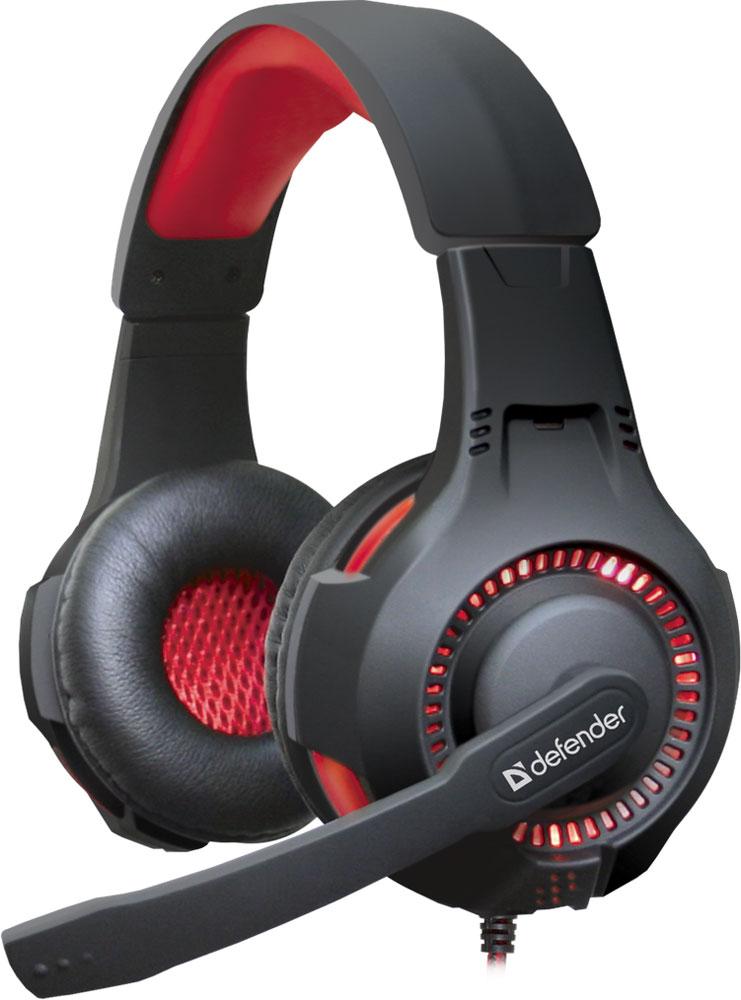 лучшая цена Игровая гарнитура Defender Warhead G-450 USB, подсветка, кабель 2,3 м