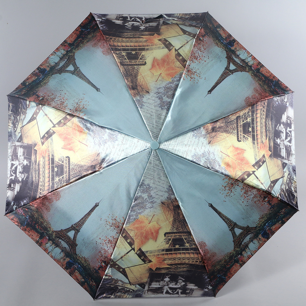 Зонт женский Magic Rain, полуавтомат, 3 сложения, цвет: серо-голубой, серый, рыжий. 4333-1604 ковры seintex toyota rav 4 l 2006 2012 высокий борт