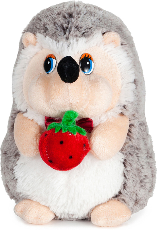 Maxitoys Мягкая озвученная игрушка Ежик с клубничкой 19 см