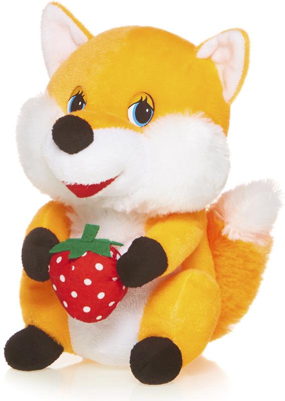 Maxitoys Мягкая озвученная игрушка Лисичка с клубничкой 20 см maxitoys мягкая озвученная игрушка белка задорная с бантиком 20 см