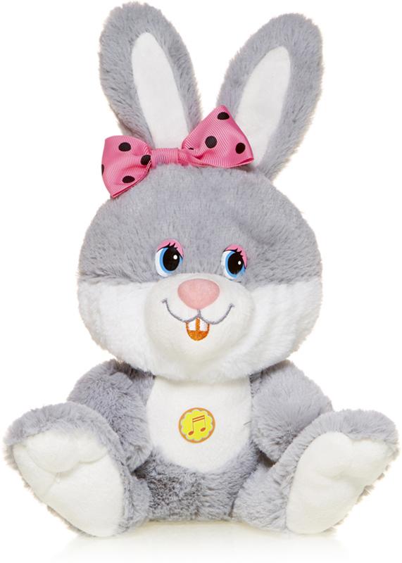 Maxitoys Мягкая озвученная игрушка Зайка Милашка с розовым бантиком 21 см maxitoys мягкая озвученная игрушка белка задорная с бантиком 20 см