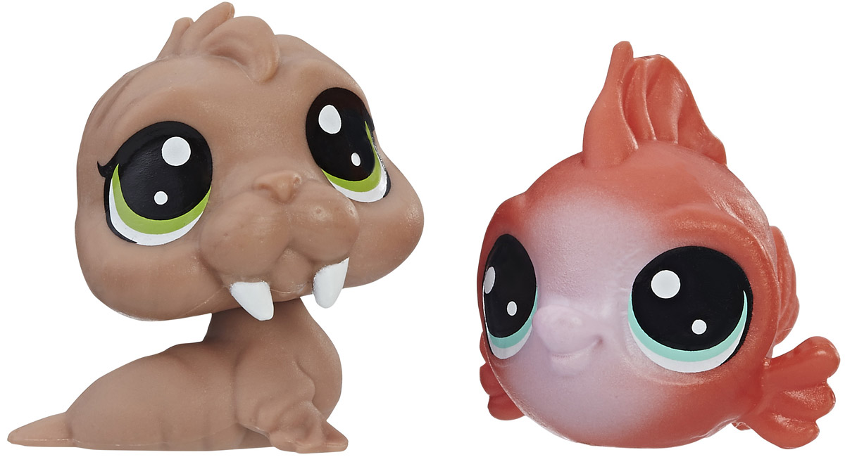 Littlest Pet Shop Набор фигурок Wally Walrd & Eda Redfish mini doll lot 10 pcs littlest pet shop dog loose child girl toys lps gift