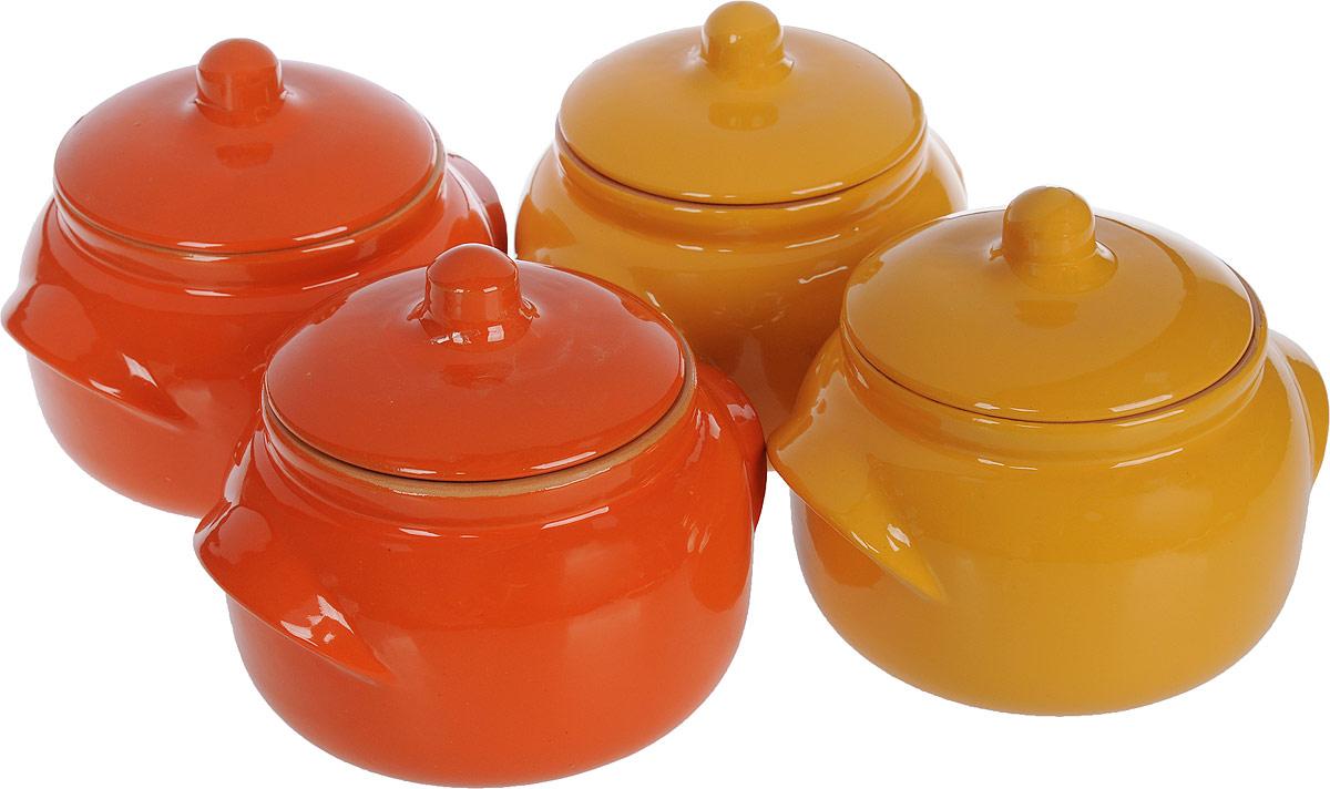 Набор горшочков для запекания Борисовская керамика Новарусса, цвет: желтый, оранжевый, 500 мл, 4 шт набор горшочков для запекания борисовская керамика новарусса 4 шт