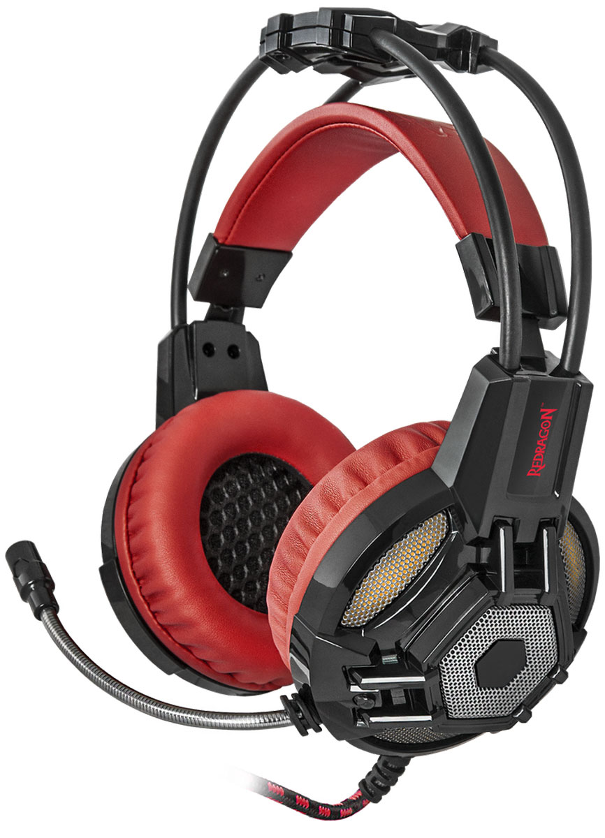 Игровая гарнитура Redragon Lester красный + черный, кабель 2,2 м игровая гарнитура redragon ridley красный черный кабель 2 2 м