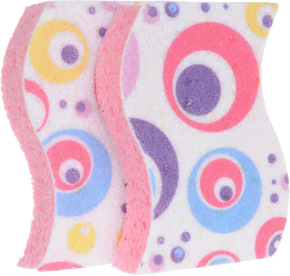Набор губок Rozenbal, для ванной, цвет: розовый, фиолетовый, белый, 2 шт держатель для губок marna sofis цвет коричневый