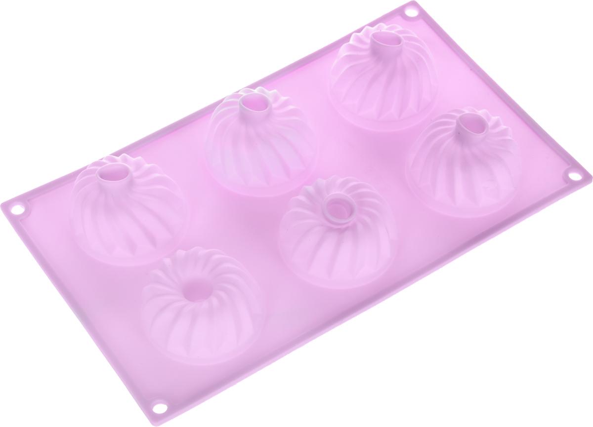 Форма для выпечки Marmiton Кекс, силиконовая, цвет: сиреневый, 6 ячеек форма для выпечки marmiton кекс фигурный