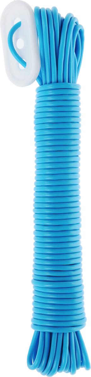 Веревка бельевая Rozenbal Эко, пластиковая, цвет: голубой, 10 м веревка бельевая axentia цвет красный длина 30 м