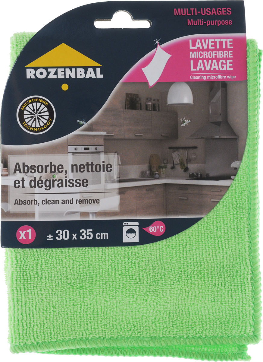 Салфетка Rozenbal, многофункциональная, цвет: зеленый, 30 х 35 см салфетка clean cloth уборки кухни пыли посуды желтый зеленый розовый