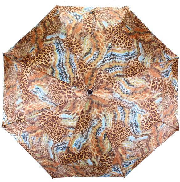 Зонт женский Pasotti, полный автомат, 3 сложения, цвет: коричневый 261-56084-1