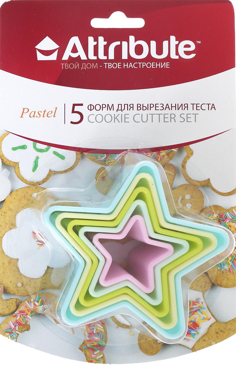 Набор форм для вырезания теста Attribute Pastel. Звезды, 5 шт набор форм для вырезания теста attribute cookie 4 шт atv519