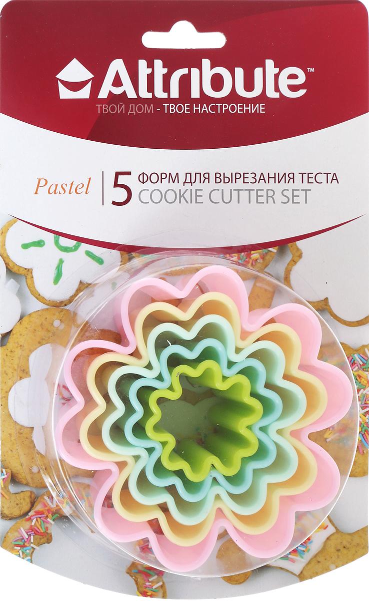 Набор форм для вырезания теста Attribute Pastel. Цветок, 5 шт набор форм для вырезания теста attribute cookie 4 шт atv519