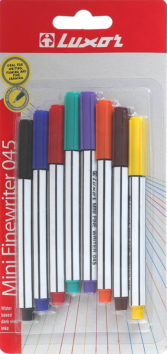 Luxor Набор капиллярных ручек Finliner Mini 8 шт набор капиллярных ручек luxor fine writer 045 246642 цвет чернил красный 10 шт