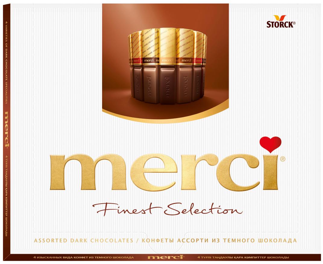 Merci Конфеты в темном шоколаде Ассорти, 250 г merci набор конфет ассорти из шоколада с миндалем 250 г