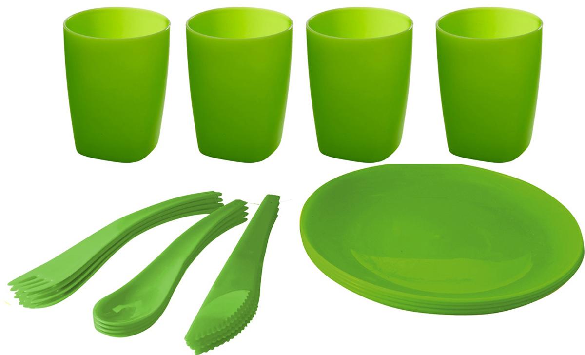 Мини-набор для пикника и барбекю Plastic Centre, цвет: лайм, на 4 персоны + ПОДАРОК: Веер раздува мангала, красный