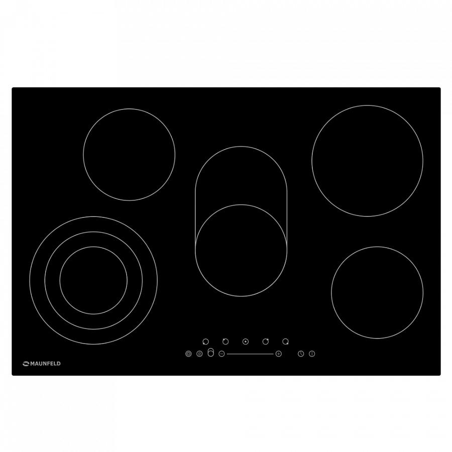 Стеклокерамическая панель MAUNFELD EVCE. 775. SM. T-BK черный Мощность конфорок Верхняя левая 1200, нижняя левая 2300/1600/800...