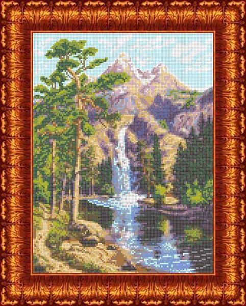 Канва с нанесенным рисунком Каролинка Горный водопад, 23 х 30,5 см канва с рисунком для вышивания орхидеи 28 х 34 см 1316