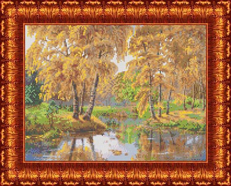 Канва с нанесенным рисунком Каролинка Осень в отражении, 22 х 30 см канва с рисунком для вышивания орхидеи 28 х 34 см 1316
