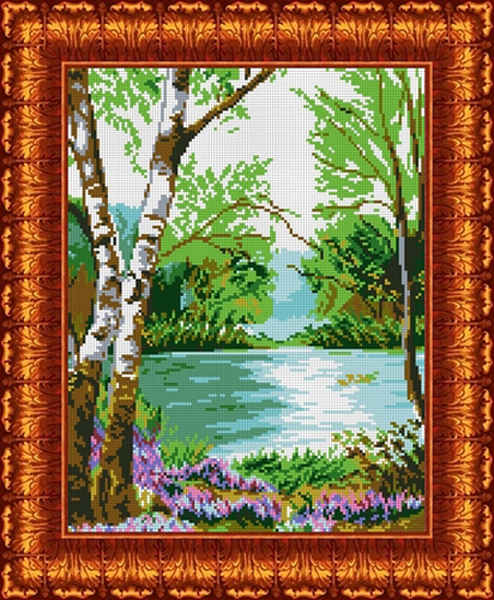 Канва с нанесенным рисунком Каролинка У реки, 35 х 47 см канва с рисунком для вышивания орхидеи 28 х 34 см 1316
