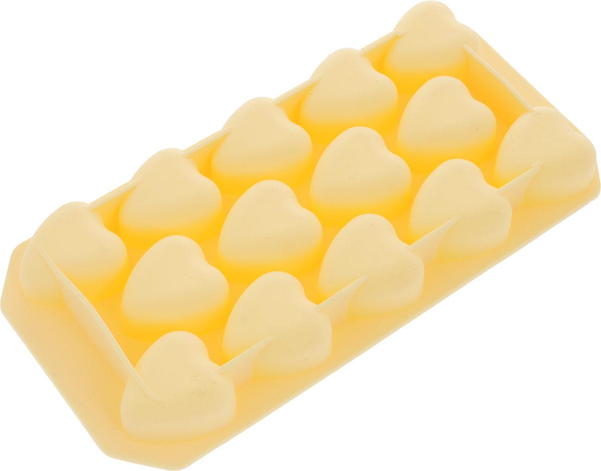 Форма для льда Marmiton Сердечки, цвет: желтый, 14 ячеек форма для льда marmiton звездочки и ракушки цвет желтый 10 ячеек