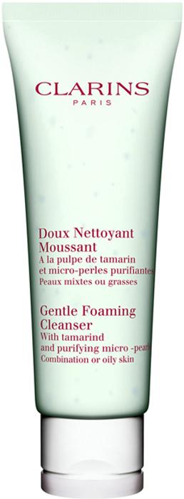 Clarins Очищающий пенящийся крем с экстрактом тамаринда для комбинированной или жирной кожи Doux Nettoyant Moussant, 125 мл sisley gel doux nettoyant