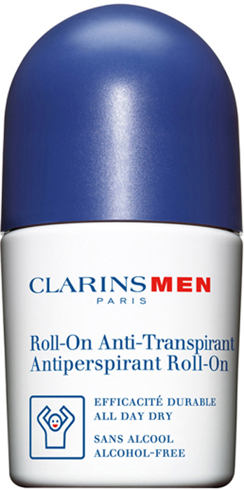 Clarins Дезодорант-антиперспирант шариковый для мужчин Men Antiperspirant Roll-On, 50 мл clarins дезодорант стик антиперспирант men stick antiperspirant 75 г