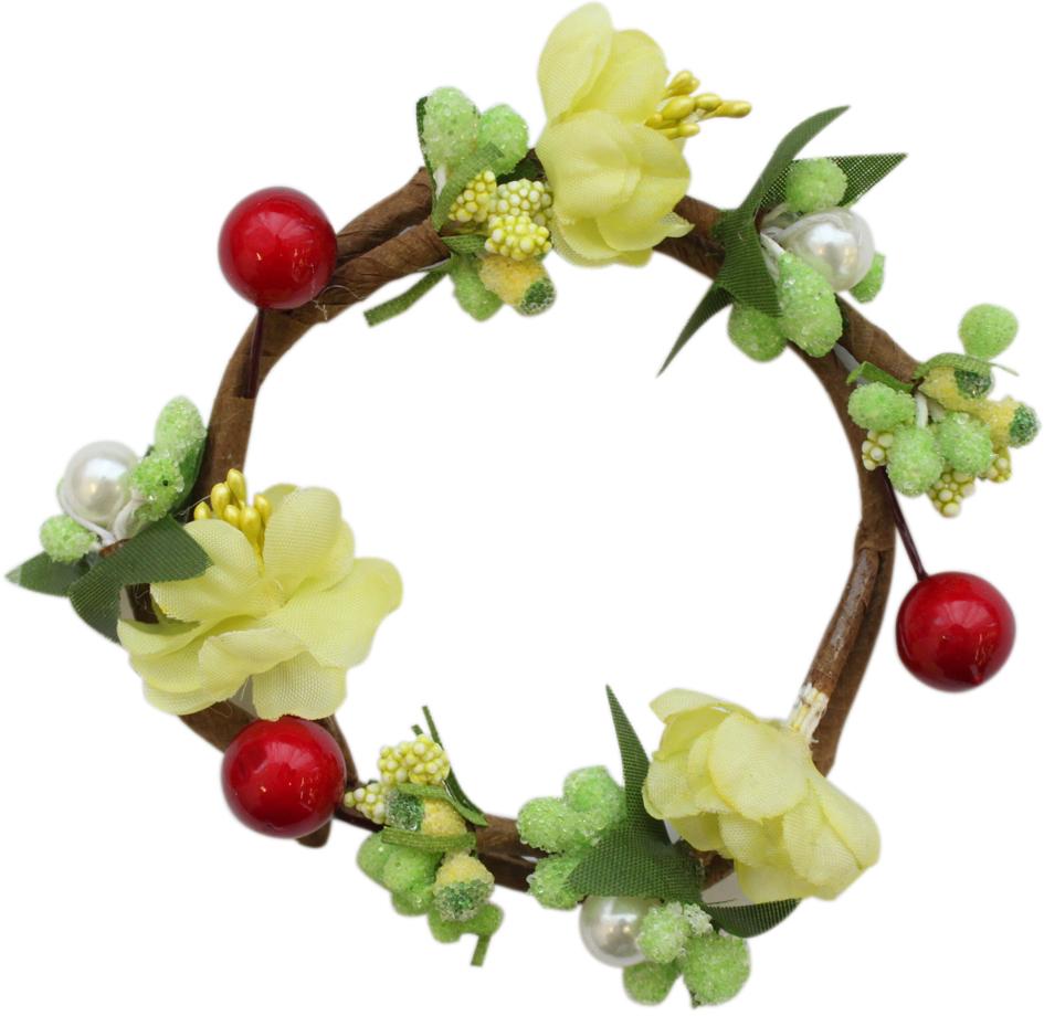 """Венок для свечей Астра """"Цветы и жемчуг"""", цвет: светло-зеленый, 7,5 х 7,5 х 2,5 см"""
