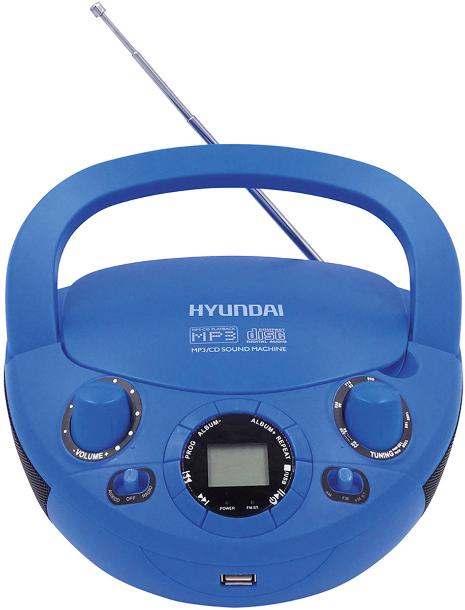 Магнитола Hyundai H-PCD220, Blue аудиомагнитола bbk bx180u черный оранжевый 2вт cd cdrw mp3 fm dig usb